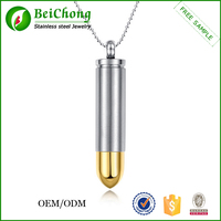 Mens fashion engraved gold bullet gun pendant