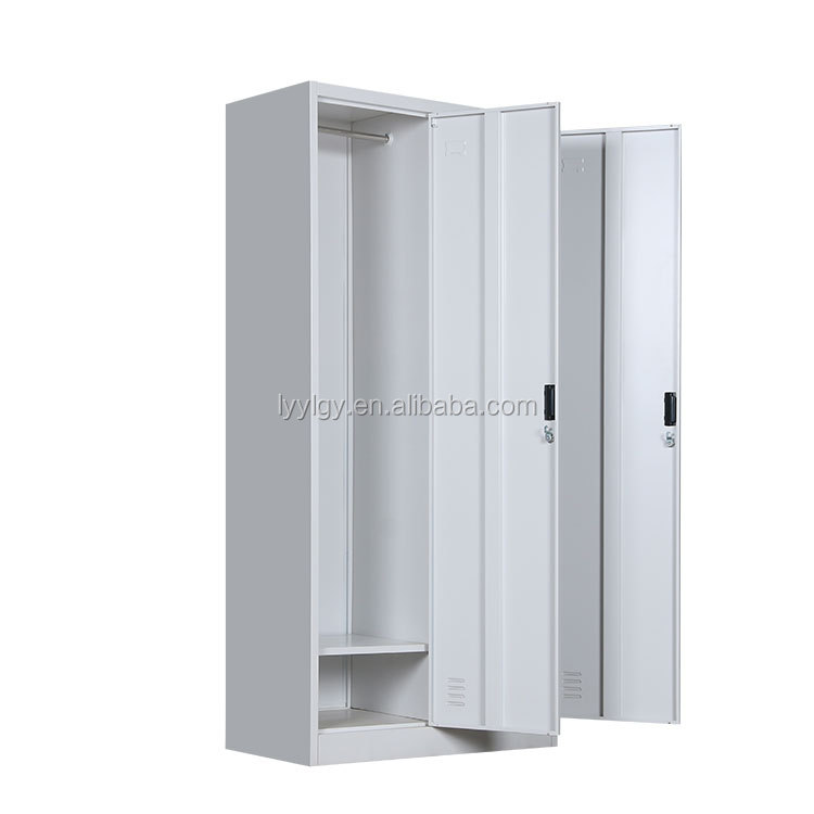 Key lock double door steel almirah with metal frame wardrobe design with hanger