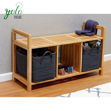 Solid Bamboo Entryway Storage Bench