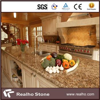 Bevelled Edge Giallo Fiorito Granite Kitchen Countertop Price