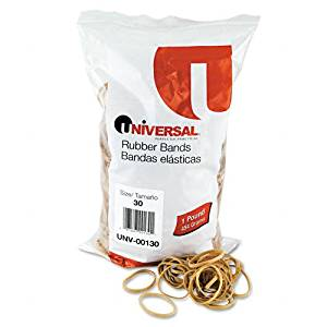 Universal : Rubber Bands, Size 30, 1/8 x 2, 1120 per 1lb Box -:- Sold as 2 Packs of - 1120 - / - Total of 2240 Each