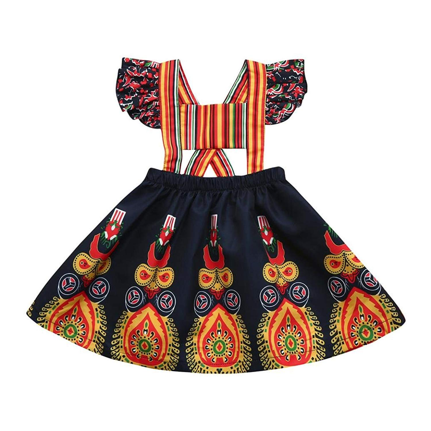 Hibro Baby Girls Princess Dress Backless Party Pageant Boho Floral Dresses Skirts for Toddler Kids
