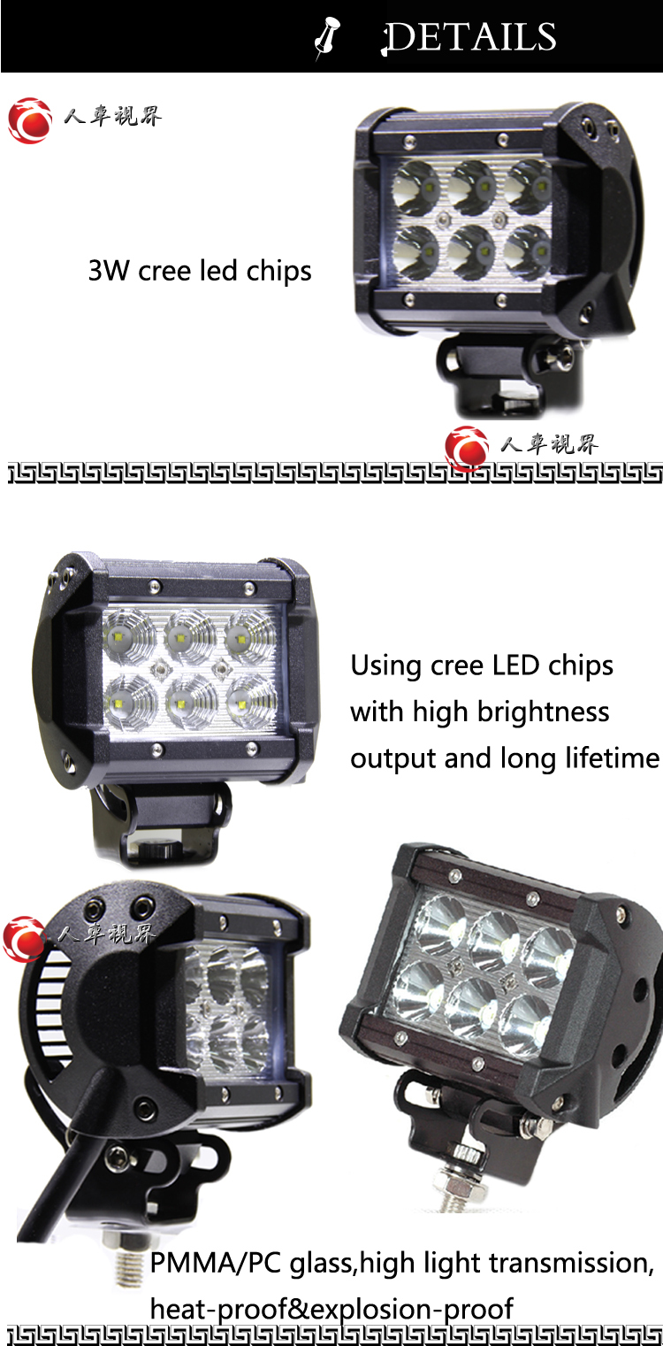 12v 18w Rechargeable Led Work Light For Automotive Off