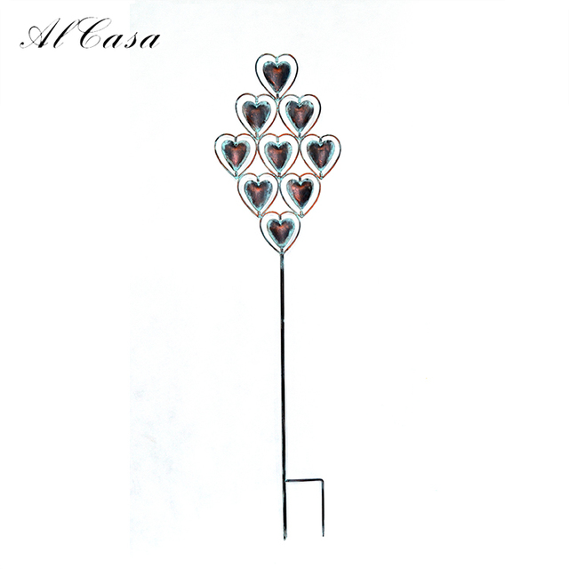 Garden vase lawn craft art plant decoration heart shaped metal garden stake wholesale