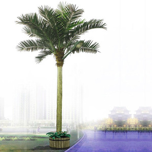 Lighted Indoor&Outdoor artificial coconut palm tree with LED light and solar panel system