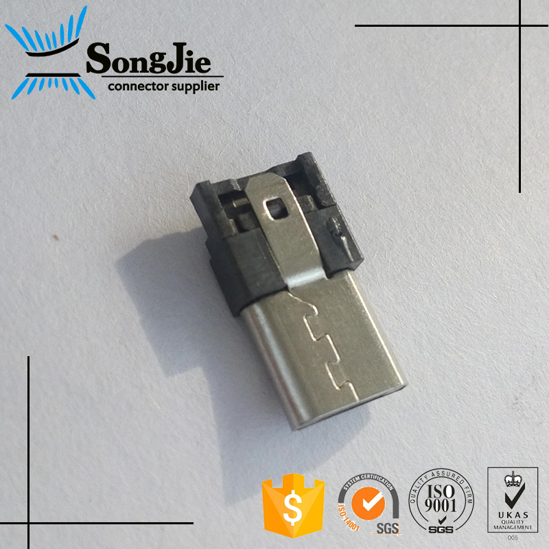 SGS/ISO/ISO9001 Micro USB 5P Male B Type Solder Connector For PCB Design