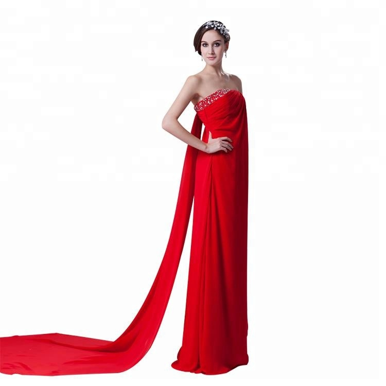 b0357b6dd1a8 Nuovo disegno sexy rosso senza spalline beaded ruffle maxi chiffon usura  del partito di sera lungo