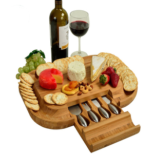 Bamboo Cheese Cutting Board Set low MOQ With 4 Knives Tools Set