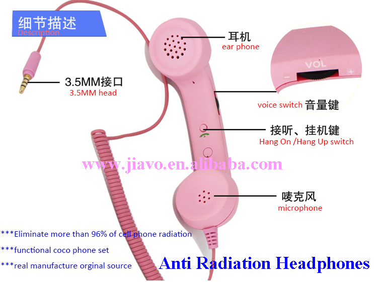 3.5MM Jack Connection Radiation Protection Retro Handset For Mobile Phone