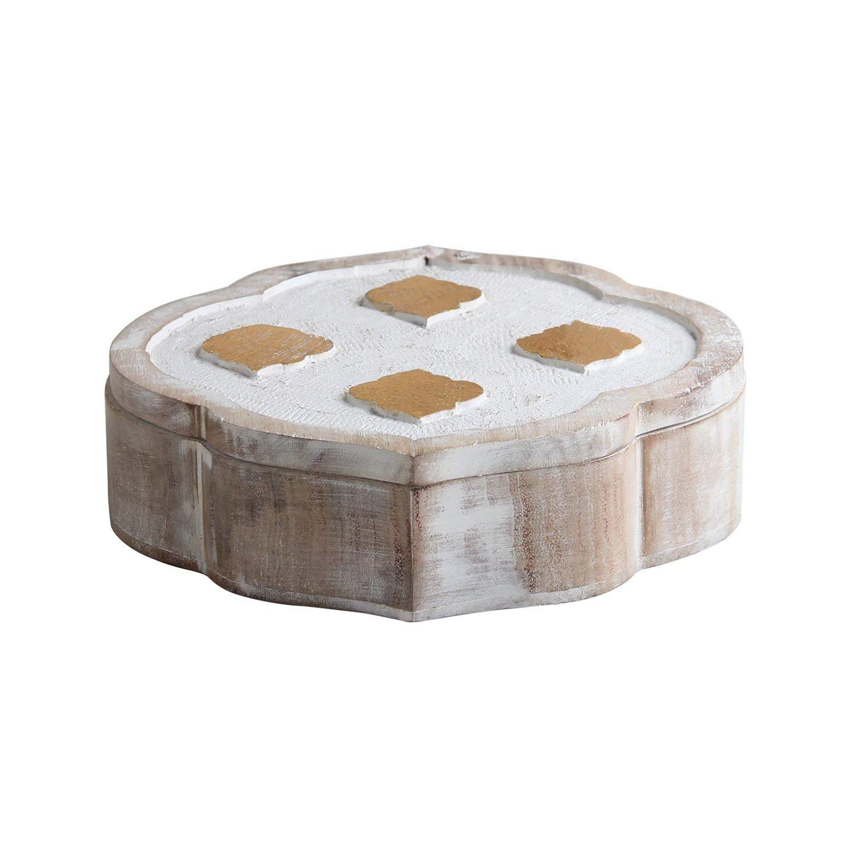 storeindya Wooden Jewelry Box Storage Organizer Multipurpose Box Wooden Keepsake Box/Kids Treasure Chest Box/Treasure Chest for Kids Trinket Holder for Women Men Girls (White Mughal Collection)