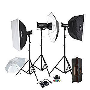 "Godox Proffesional 1200W Photography Flash Studio Strobe kit Three 400w Sk400 Monolight Lighting Kit,includes (3)400W SK400 Strobe Light+(3)Light Stand+(2) 60*90 Soft Box+(2)Standard Reflector+(1) Translucent Snow White 84cm(33"") Umbrella+(1) Reflective 84cm(33"")Umbrella+(1)Wireless Trigger"