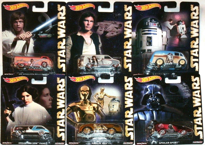 Star Wars Pop Culture Hot Wheels Car Set, 2015 Luke Skywalker, Han Solo, Princess Leia, R2D2 & C3PO Droids, Darth Vader
