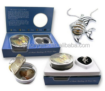 Wish Pearl Fish Pendant Necklace Kit Set Freshwater Pearl in Oyster