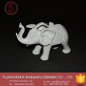 White Ceramic Elephant Good Luck Stunning Statue Figurine New 2016