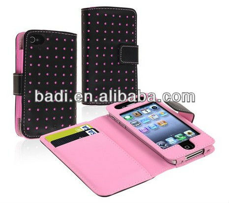 For City Wallet Black Pink Dot Leather cover Case wallet for iPhone 4 4G 4S