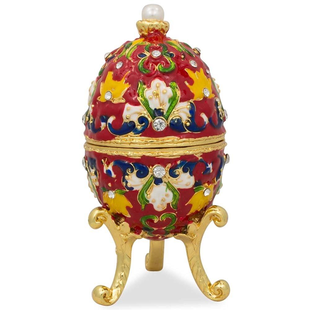 "4"" Multicolor Flower Leaved on Red Enameled Faberge Inspired Egg"