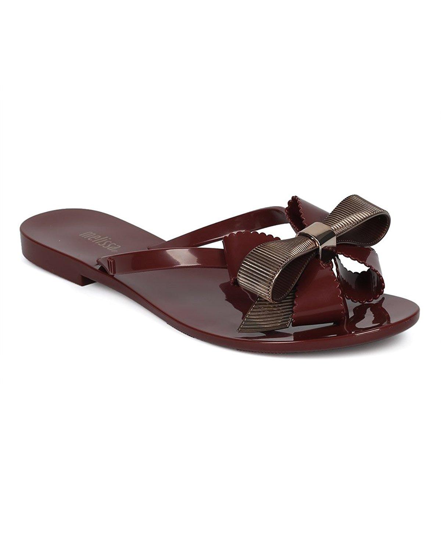 d749c241dd67 Melissa Women Multi Textured Jelly Sandal - Grosgrain Bow Tie Sandal - PVC Thong  Sandal -