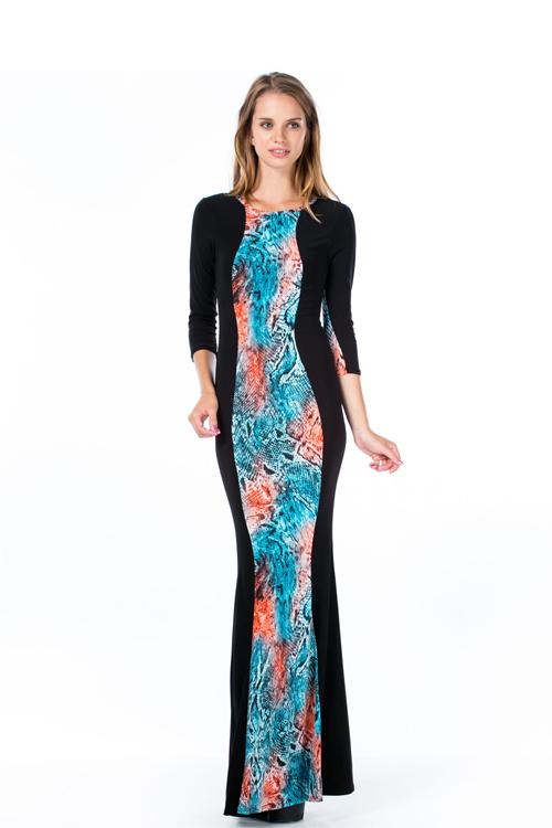 Long sleeve black slinky sexy girls maxi dresses