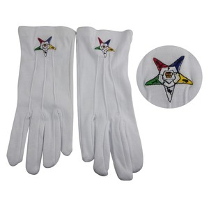 mason mitten Masonic white glove cotton material with embroidery logo custom logo hand gloves