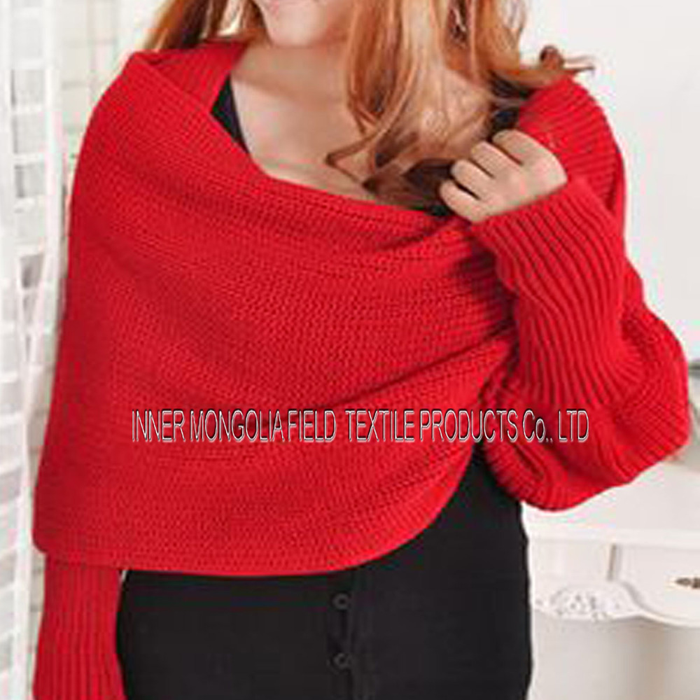 Cashmere Knitting Pattern Sleeve Scarf Sweater Wrap - Buy Sweater ...