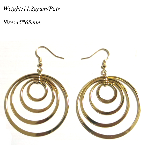 Drop wire Gold plated Brass Circle Hoop Earring