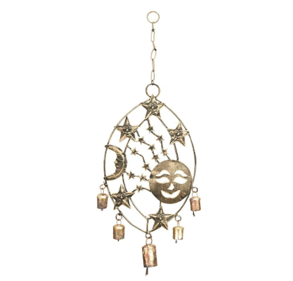 "MyEasyShopping Metal Celestial Sun Moon Stars Windchime 3 Assorted 15"" W, 17"" H - Catchers Owl Dragonfly Lovebirds Elephant Butterfly Mandala Angel Wind Star Chime Metal Hanging Garden"