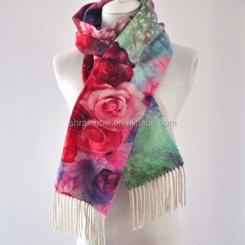printed cashmere fringe woven thick winter custom ladies' scarf