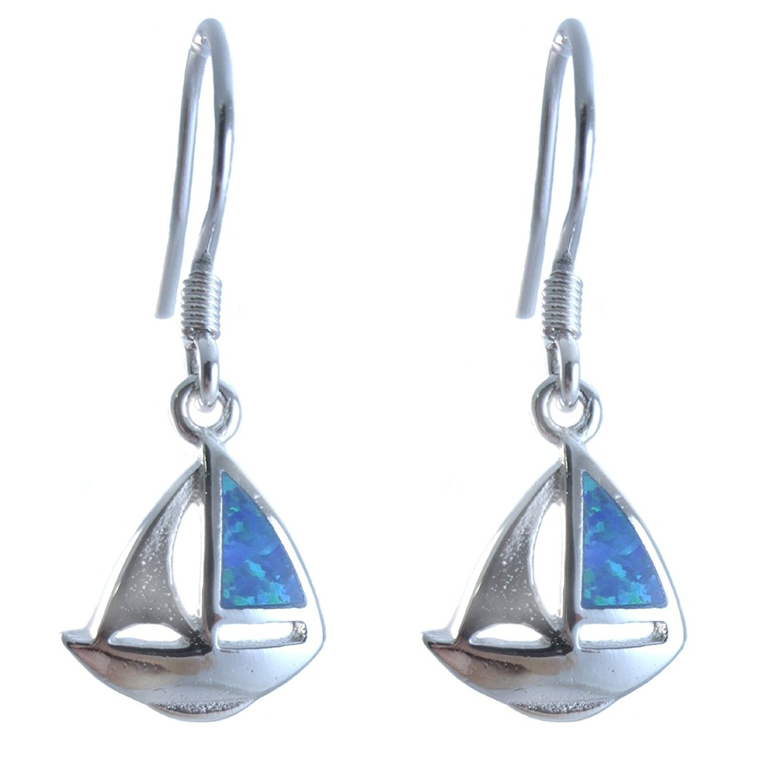Sailboat Earrings Lab Created Blue Simulated Opal .925 Sterling Silver. 1.2 Inch