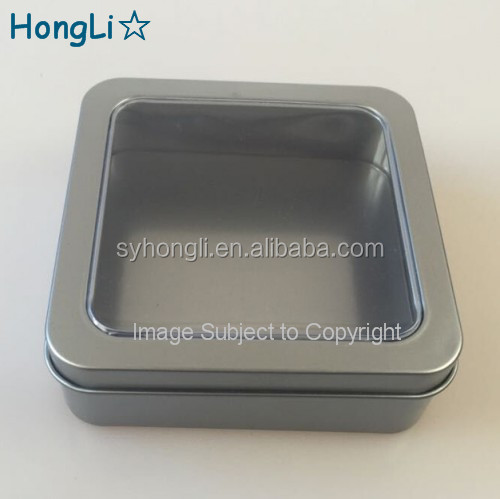 Metal Silver Color Packaging Box with Transparent Pvc Window
