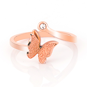 Butterfly Wholesale Sand Blush Rose Gold Stainless Steel Ring
