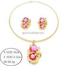 New Design Fashion Pink Stone Bridal Choker Necklace Jewelry Set