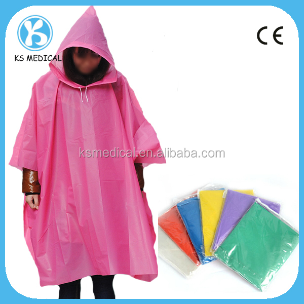 Disposable Rain Poncho With Logo from factory directly
