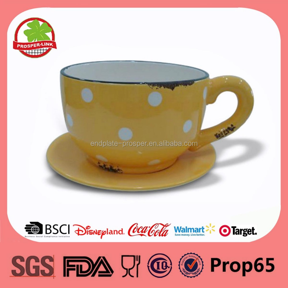 Indoor Ceramic Flower Pots With Coffee Cup And Saucer Shape Buy