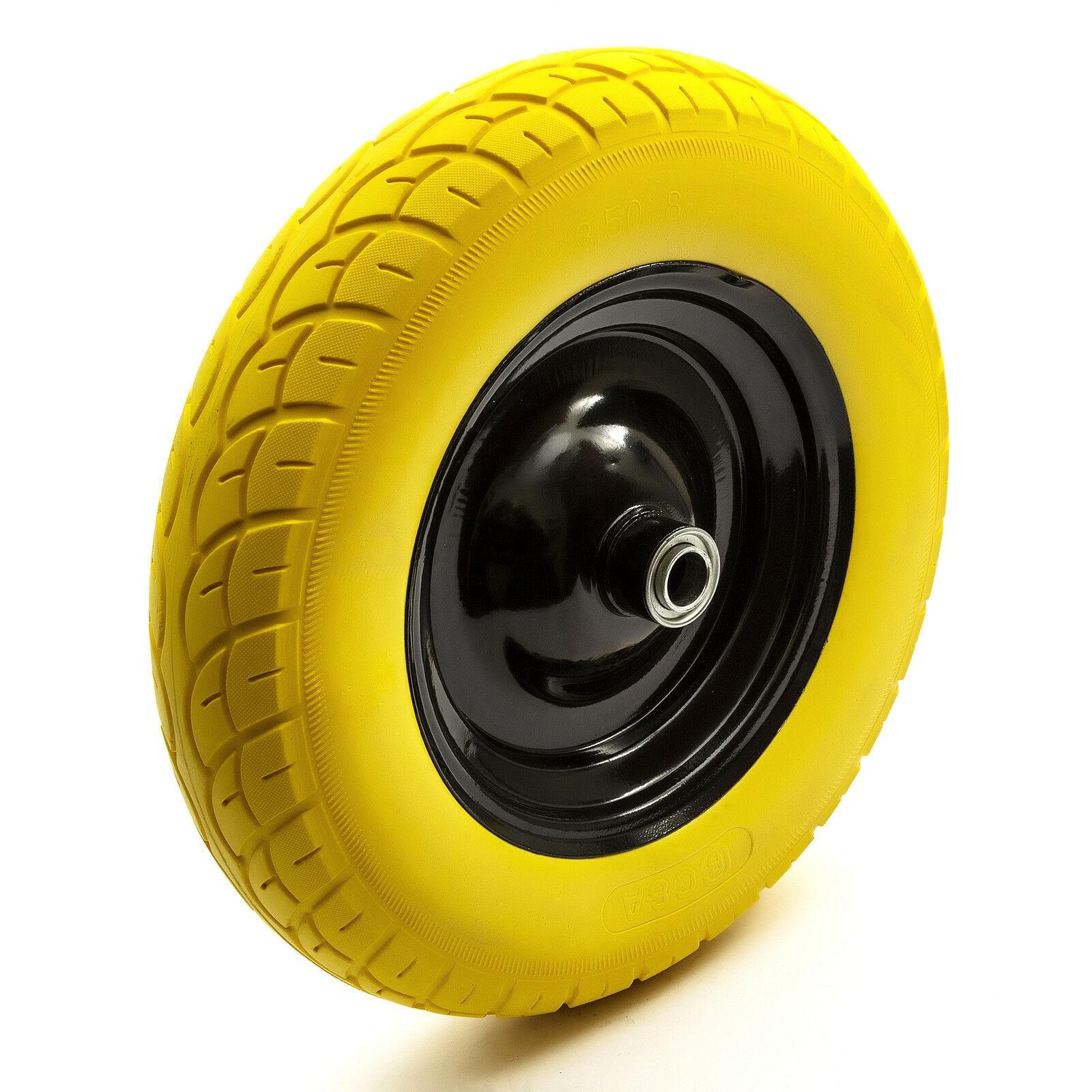"PU 16/"" Puncture Proof BLACK Wheelbarrow Wheel Tyre 4.80-8 16MM ROLLER BEARINGS"
