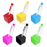 Novelty plastic promotional ball pen with cubic shape