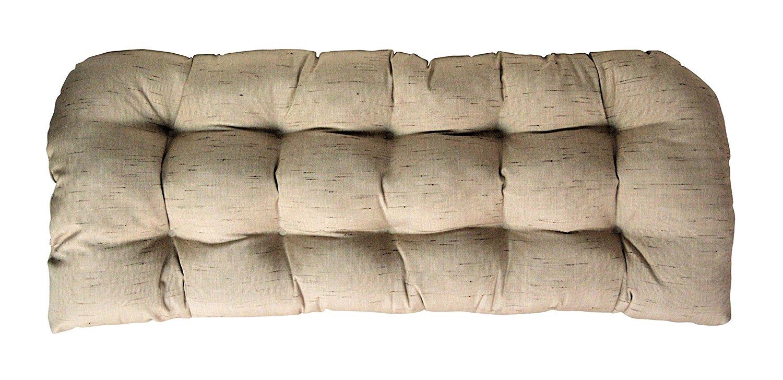 Sunbrella Frequency Sand Large Love Seat Cushion - Indoor / Outdoor 1 Tufted Wicker Loveseat Settee Cushion - Linen Look Tan / Beige
