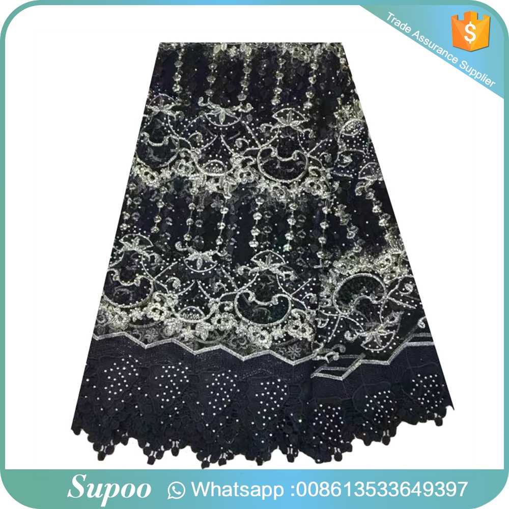 High Quality Nigerian French Lace With Beaded Net Lace Tulle Embroidered Net Lace