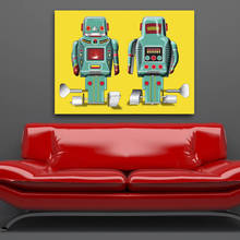 Wall Painting Extra Large Figure Abstract Robots Pop Art Canvas Print