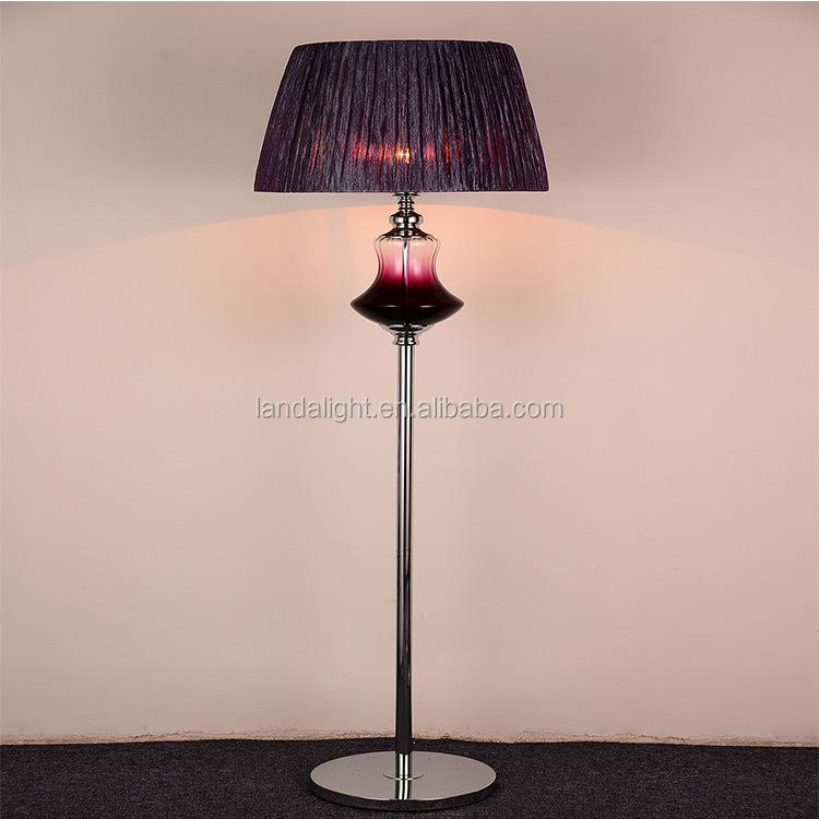 Luxe brons antiek koper klassieke messing decoratieve staande lamp met stoffen kap staande - Klassieke vloerlamp ...