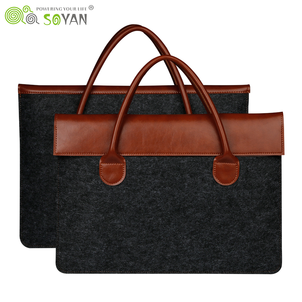 "For MacBook Pro 15.4"" Laptop Handbag Carrying Sleeve,Wool Felt Messenger Bag with Leather Handle for Laptops/Notebook Computers"