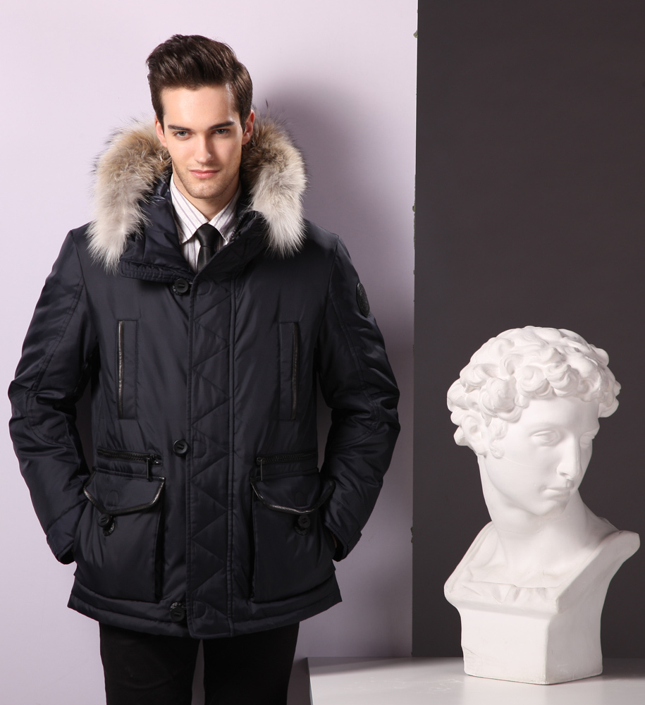 Winter Goose Down Feather Filling Mens Coats Hooded Mens Jacket ...