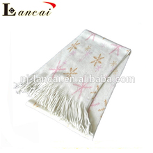 Hot newest fashion snowflake pattern soft lady printing knitting scarf