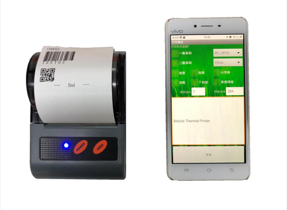 MTP58BN Mini Mobile Thermal Bluetooth Receipt for Parking Taxi Restaurant Ticket Printing