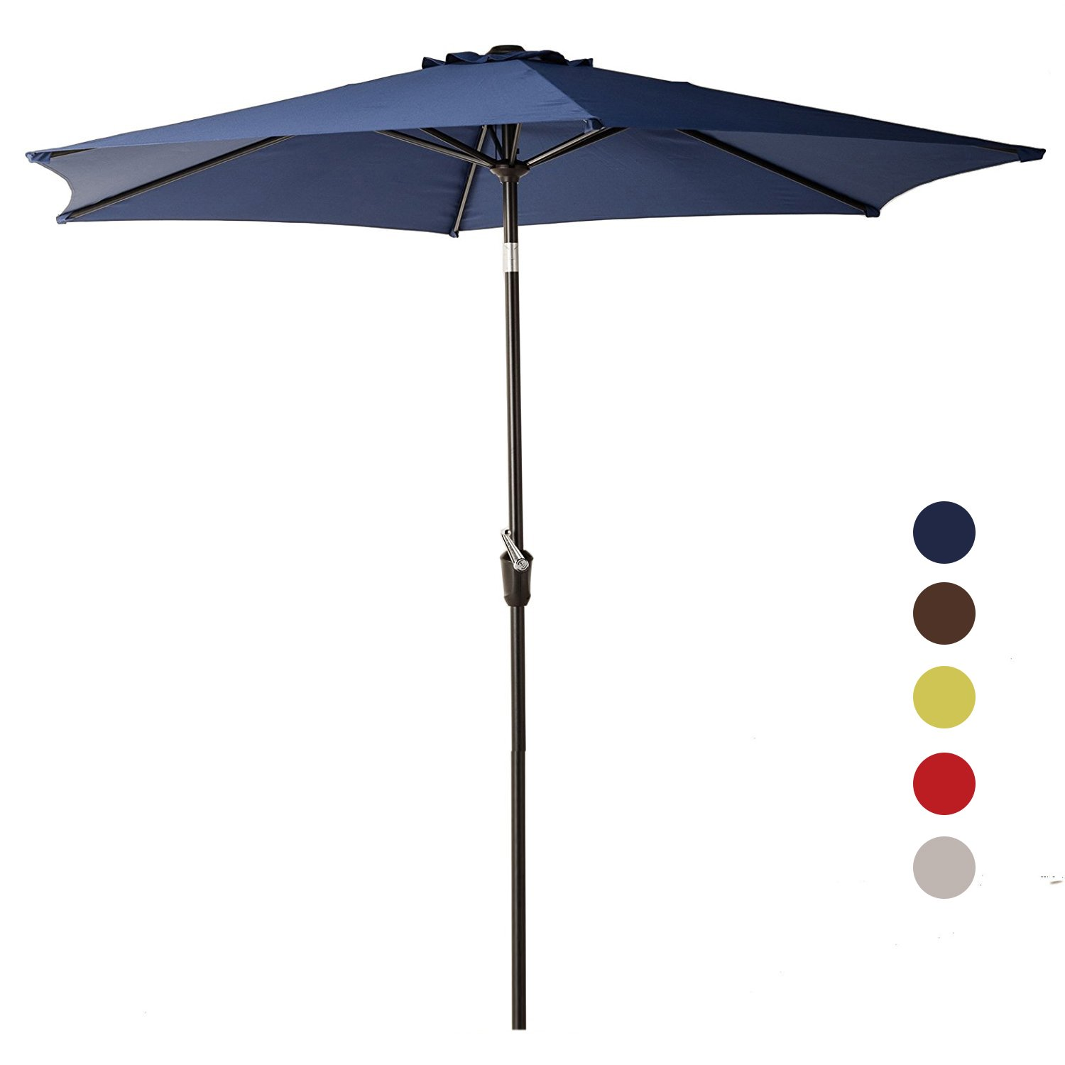 Grand patio 9FT Aluminum Patio Umbrella, UV Protective Beach Umbrella with Easy Crank and W/O Tilt, Powder Coated Outdoor Umbrella, Blue