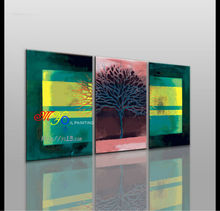 handmade home decor abstract green tree 3 panel group oil painting on canvas