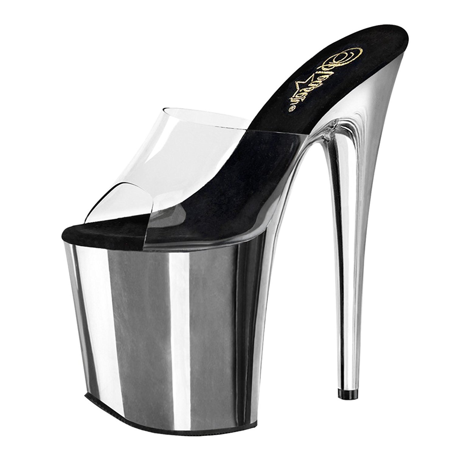 921fb2d067c Get Quotations · Summitfashions Womens Silver Shoes Platform Sandals Clear  Strap Slides Chrome 8 Inch Heels