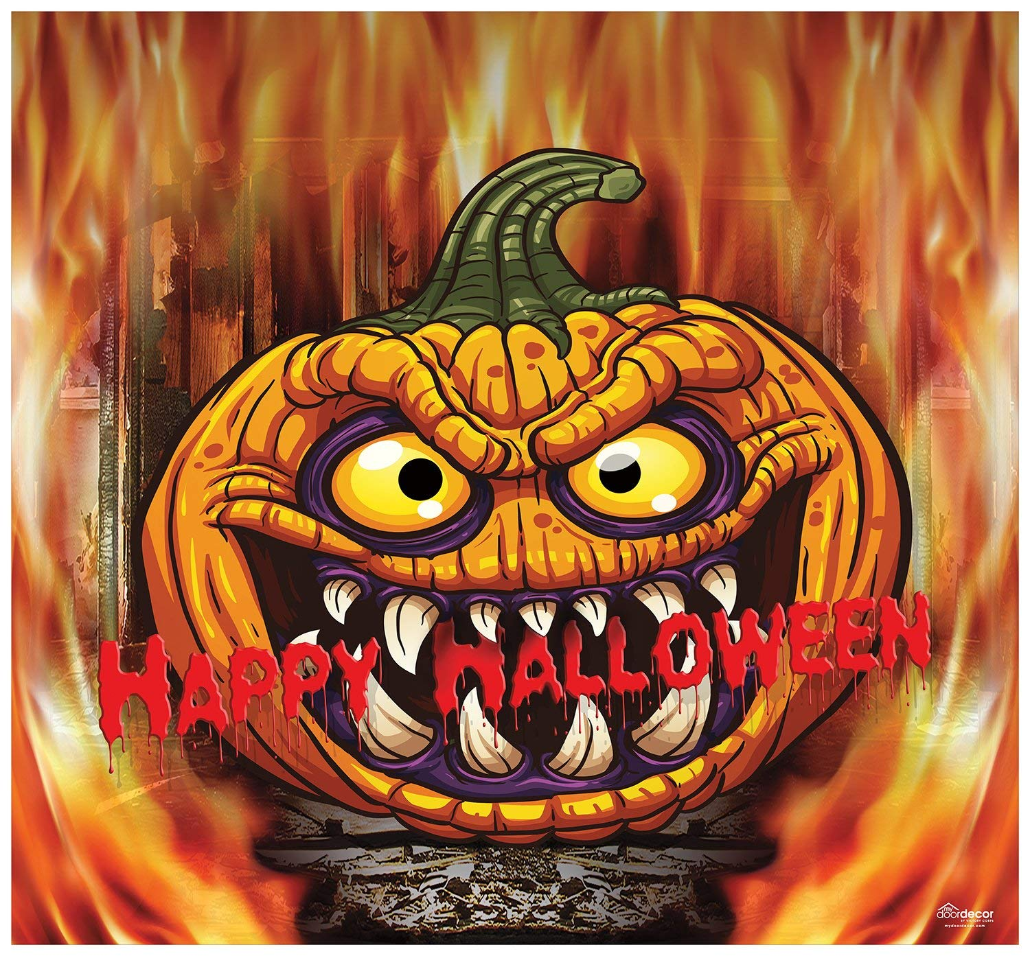 Victory Corps Outdoor Halloween Holiday Garage Door Banner Cover Mural Décoration - Scary Pumpkin in Flame Halloween Garage Door Banner Décor Sign 7'x8'