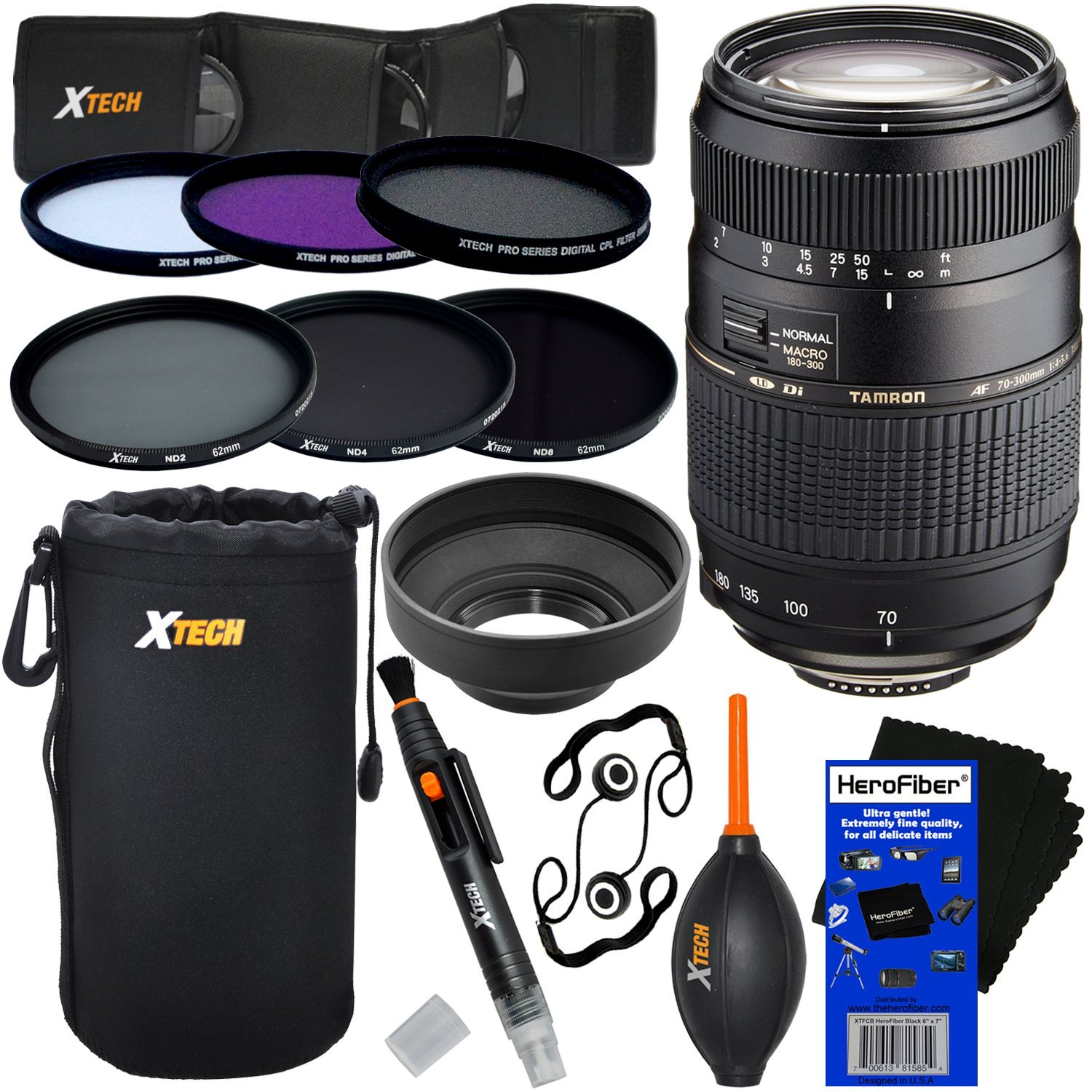 "Tamron AF 70-300mm f/4.0-5.6 Di LD Macro Zoom Lens with ""Built In Motor"" for Nikon DSLR Cameras (International Version) + ND Filters ND2, ND4, ND8 + 11pc Dlx Accessory Kit w/HeroFiber Cloth"