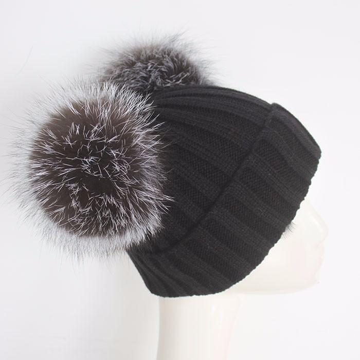 Myfur Black Double Silver Fox Fur Pom Puff Knitted Funny Cute Beanie Hats 90633ff1d7e2