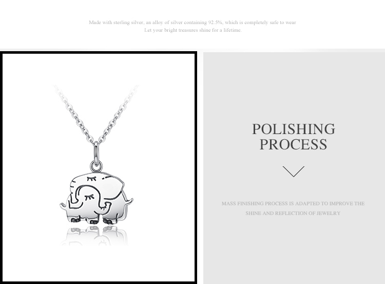 Modalen Custom Personalized Elephant Jewelry 925 Silver Sterling Chain  Pendant Necklace